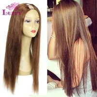 Wholesale Chestnut Human Hair Wigs - Unprocessed 7A Grade Brazilian Human Hair #6 U Part Wig Virgin Hair Chestnut Brown Straight U Part Wigs With Straps And Combs
