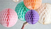Artificial Garland Paper Craft Papier de soie Pom Pom Honeycomb Boule Lantern Wedding Party Home Decor UA Décorations Stock mariage