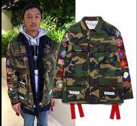 Wholesale Men S Military Uniform - Fall-Free shipping Hip hop off white camo pocket embroidery badge Jacket Winter kanye west Camouflage Military Uniform Coat