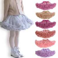 Wholesale Knee Length Girls White Pettiskirt - Girl TUTU Skirts 2 Layer Soft Gauze Colorful pettiskirt Dance Skirt 0-10Y 13052