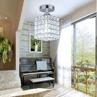 weißes glas mosaik großhandel-Crystal LED Kronleuchter Wohnzimmer LED Deckenleuchten E14 E12 Crystal Deckenleuchten 85-265V Korridor Kristall Deckenleuchte gd-003