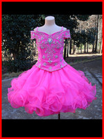 Wholesale Elegant Gowns For Girls - Real Photo Cheap Girls Pageant Dresses 2017 Ball Gown Free Custom Made Beaded Top Organza Tiered Ruffles Elegant Kids Party Dress For Event