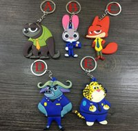 Wholesale Eva Action Figure - Zootopia Keychains 5 design Cartoon Rabbit Nick Wilde Judy Hopps Keychain PVC Action Figure Pendant Key Ring Toys