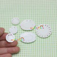 Wholesale Wholesale Dollhouse Plates - Wholesale- Mini Porcelain China Serving Plate Dish Saucer 6pc Dollhouse Miniatures Kitchen Tableware White