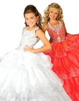 Wholesale cute red dresses for parties for sale - Group buy Cute Princess Ball Gown Organza Girls Pageant Dresses New Beading Sequined Flower Girl Dresses For Wedding Party BA1510