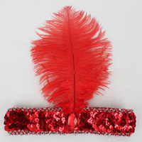 Wholesale Sequin Headbands Diamond - Ostrich Feather Headpiece For Halloween Party Flapper Feather Headband 1920's Flapper Sequin Charleston Costume Headband Band for Chirdren