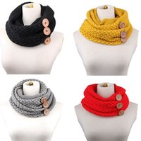 Wholesale Button Neck Warmer - PrettyBaby women neckerchief knitted button scarf winter neck gaiter winter knitting scarf wrap fashion knit warm ring scarf free shipping