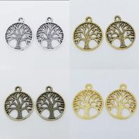 contas de joias venda por atacado-Encantos de Árvore de Vida de Prata tibetana Rodada Pingentes Beads Jewerly Descobertas 20mm Escolha Cor