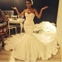 Wholesale Simple Elegant Dress Designs - Elegant Simple Design White Mermaid Wedding Dresses Summer Sweetheart Court Train Beach Bridal Gowns Custom Made Wedding Gowns