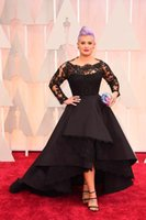 Wholesale Cannes Royal Blue - New Arrival 2015 Oscar Kelly Osbourne Celebrity Dress Long Sleeve Black Lace Applique High Low Red Carpet Evening Dresses A line Prom Dress