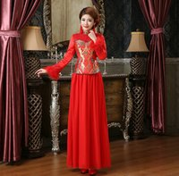 Wholesale Chinese Wedding Traditional Wear - Free shipping Dragon embroidery Long sleeve chinese traditional clothes wedding dress cheongsam dress vintage chinese style dress Red color