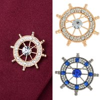 Wholesale Indian Dresses For Wedding - 12pcs New Design Brooch Crystal Rhinestone Neutral Navy Anchor Rudder Badge Brooches Pin For Dresses Women Men Jewelry Free Ship