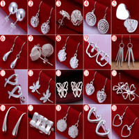 Wholesale Earrings Supplies - Hot Selling High Quality 925 Silver Earrings For Women New Supplies Fashion Jewelry Charm Stud Earrings 20pairs lot Beautiful Christmas gift