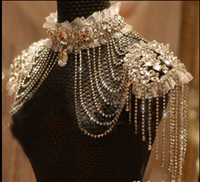 omuz gövde zinciri takı toptan satış-Gerçek görüntü Lüks Gelin takı omuz zinciri Kore Alaşım rhinestone düğün aksesuarları vücut zinciri düğün takı ücretsiz kargo