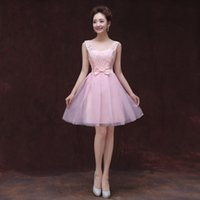 Wholesale Violet Ball - New Pink Sky Blue Violet Short Ball Gown Scoop Neck Lace Tulle Bridesmaid Dress 2017 Fast Shipping