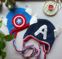 Wholesale Hat Child Supermen - The Avengers superman spiderman batman Knitted crochet wool hat with ear flap Children Crochet Hat cap