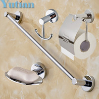 Wholesale bathroom hook bar for sale - Group buy Round Stainless Steel Bathroom Accessories Set Soap Dish Robe Hook Paper Holder Towel Bar Set Yt b