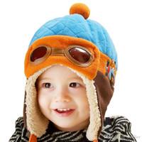 Wholesale Bonnet Protector - Bonnet baby winter hats child hat plus velvet baby hat autumn and winter thermal protector ear cap A5