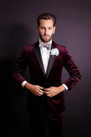 Wholesale Dark Gray Suit Mens - Handsome One Button Dark Red Velvet Groom Tuxedos Notch Lapel Groomsmen Best Man Mens Weddings Prom Suits (Jacket+Pants+Girdle+Tie) NO:2511
