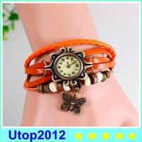 Wholesale Cow Leather Wrap Watch - 15% Mix Colors Cow Leather Women Watches Leather Butterfly Charm Watches Ladies Dress Vintage Weave Wrap Wrist Watch