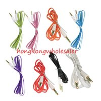 Wholesale Cheap Phone Cords - Cheap Aux Cable Flat Aux Jack Audio Cord Cables 3.5mm to 3.5mm Male to Male Car Cell Phone Extended Audio Auxiliary Cable for PC MP3 MP4