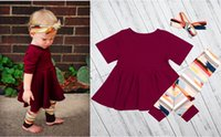 Wholesale Dress Pants For Kids - Hot Boutique baby Girl 3 pcs set burgundy winter dress & headband & tight pants sz80-sz120 for kids 12M- 5 years old