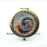 Wholesale Metal Antique Pocket Mirror - New Arrival Astronomical Clock Compact Mirror Antique Pocket Mirrors Brand Cosmetic Mirror--00337