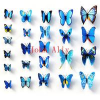 adesivos plásticos de parede de borboleta venda por atacado-Atacado Colorido Design Art 3D Decoração Da Parede Da Borboleta Ímã De Plástico 4 Cores Crianças Adesivos de Parede Adesivo de Parede decoração freeshipping