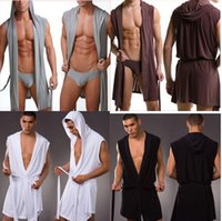 Wholesale Underwear Colour - Wholesale-Fashion men casual sexy fitness slik bathrobe sleeveless robe underwear sex Lungewear series 4 colour S , M ,L