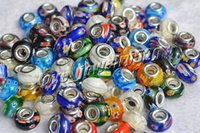 Lots Mixed Millefiori Glass 5mm Hole Beads Fit Europeu Pulseira DIY Atacado lotes moda jóias B49