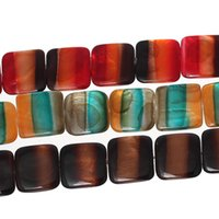"Wholesale Square Shell Beads - Shell Loose Beads Square Mixed Stripe Pattern About 20mm(6 8"")x 20mm(6 8""),Hole:Approx 1mm,3 Strands 2015 new"