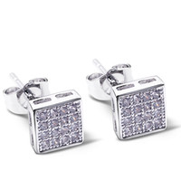 Wholesale Pave Flower - Square shape new stud earings pave with cubic zirconia crystal Earings Women Earrings new platinum plate