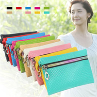 Wholesale Leather Carrying Case Vintage - 10 colors PU Clutch Bags handbags carry bags coin purses card holders Coin purses Key wallets PU leather casual bags wallets phone case