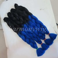 Wholesale Kanekalon Weaving Hair - Kanekalon Jumbo Braid Hair 82inch 165grams Black&Dark Blue Ombre two tone color xpression synthetic braiding hair extension in stock