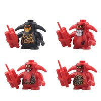 Wholesale Toy Warrior Knights - Building Blocks Minifigures Action Bricks Knights Castle Warrior Scurrier 6 Teeth Angry Face Kids Christmas Gift DIY Toys 4pcs set PG8008