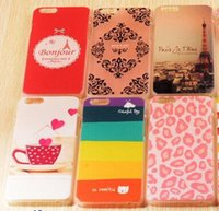 Wholesale Cute Eiffel Tower Cartoon - Beautiful Cute cartoon Paris Eiffel Tower Flower Cars Hard Crystal clear Plastic cover case for iphone 6 6S Plus samsung S6 S6 Edge free 100