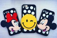 Wholesale Rubber Polka Iphone Case - Fashion 3D Cartoon Mickey Minnie Lip Smile Face Emoji Soft Silicone Rubber Polka Dots Cover Case For iPhone 5 5S 6 6S 6Plus 6SPlus iPhone6