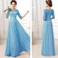 Wholesale Dress Chiffon Draped Bead - Formal Bridesmaid Dresses Sexy Chiffon Long Maids Honor Bridesmaids Dress With Lace Pink Champagne Royal Blue Gowns 2016 Sleeves For Cheap