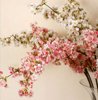 Wholesale Artificial Blossoms - 5 pcs Romantic Artificial Flowers Branches of Peach Cherry Blossom Silk Flower Home Wedding Decoration Free shipping 39 Inch 100 cm