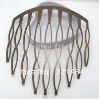 Wholesale Large Nose Studs - Antique Bronze 72*82mm 50pcs Large 8-shaped comb 9 teeth hair comb accessories jewelry findings free shipping