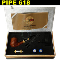 Wholesale E Cigarette Battery Pipe - Pipe 618 electronic cigarette e cigarette Single Kit E pipe 618 2.5ml Atomizer With 18350 Battery Wood Gift Box