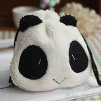 Wholesale Panda Face Bag - Fluffy Panda Face Coin Purse Pouch Wallet Makeup Cosmetic Drawstring Storage Bag 3TZY