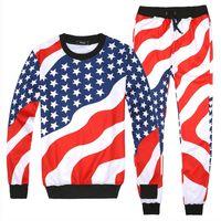 hombres corriendo hoodies al por mayor-Hombres / Mujeres 3D American Flag Print Trajes deportivos Hip Hop Emoji O-Neck Sudaderas + Pantalones Jogger Chándal Running Jogging Hoodies Set