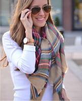 Wholesale Scarfs Ladies Pashmina - Christmas Party Price Lady Blanket Oversized Tartan Scarf Wrap Shawl Plaid Cozy Checked Pashmina corlorful autumn winter scarves