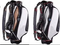 "Wholesale Golf Cart New - golf staff bag 2015 new style Ti PU black white Golf cart Bags 9"" in 5 dividers"