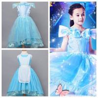 Wholesale cosplay wear online - princess cinderella dress cosplay halloween reversible dress for girl princess gowns cinderella both sides wear reversible dress for girl
