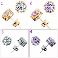 Wholesale Earing Sterling - Lady Fashion Crystal Ear Clip Men girl party shiny Earing Sterling Silver Plating White GOLD Crown Wedding Stud Earring 4colors