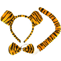 Wholesale Pink Cat Tail - Cartoon Animal Kids Headband Cravat Tail Children's Day Cosplay Performance 3pcs Props Set Masquerade Party Supplies Christmas Gift SD446