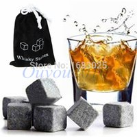 Wholesale Bulk Whiskey Stones - 12PCS lot Whiskey Wine Stones Cooler Chiller Rocks Glacier Cold Ice Cubes Soapstone Bulk Bar Home Beer Drink Cooler