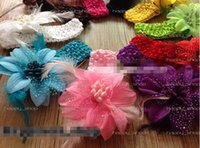 Wholesale Crochet Flower Clips Wholesale - 18%OFF Hair bows 10pcs lot Wholesale toddler baby girl Clips 3.5inch feather flowers with hair crochet headband Hair Accessories